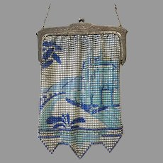 Vintage Scenic Mesh Purse Whiting Davis Castle Palm Trees circa 1920s