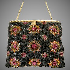 Jewelled Pink Rhinestone Vintage Purse Bag Handbag