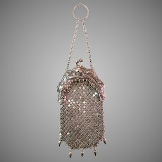 Vintage Sterling Silver Mesh Coin Purse Blackinton Finger Ring Chatelaine circa 1900s
