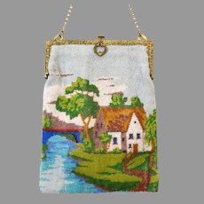 Vintage Scenic Purse Country Scene Cottage Picture Beaded Bag Handbag