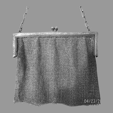 Vintage Sterling Silver Mesh Purse Bag Handbag