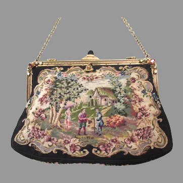 Vintage Scenic Figural Petit Point Purse Jewelled Frame