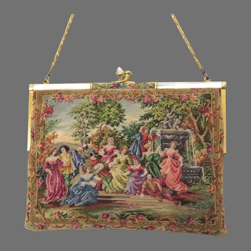 Vintage Petit Point Purse Scenic Figural Walborg Bag Handbag circa 1950s