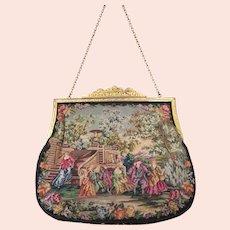Vintage Scenic Petit Point Purse Bag Handbag