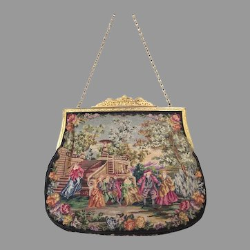 Vintage Scenic Petit Point Purse Bag Handbag