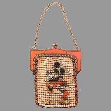 Vintage Purse Whiting Davis Mesh Child's Disney Minnie Mouse Figural Bag
