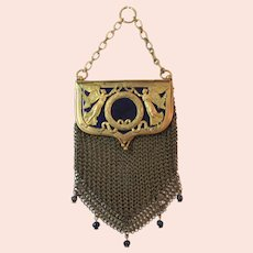 Outstanding Antique Mesh Purse with Angels