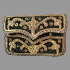 Antique Coin Purse Wallet Pocketbook 17th - 18th Century Velvet with Golden Wirework