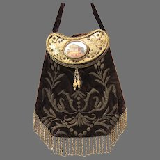 Antique Souvenir Purse Wire Embroidered Velvet