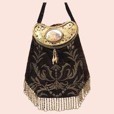Antique Souvenir Purse Wire Embroidered Velvet