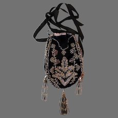 Antique Purse Deep Velvet with Steel Beads circa 1800s