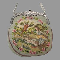 Vintage Scenic Petit Point Purse Girl & Dog  / Floral