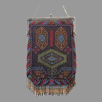 Vintage Micro Beaded Purse Geometric Gorgeous Egyptian Revival Pattern