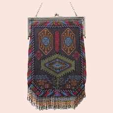 Vintage Micro Beaded Purse Geometric Gorgeous Egyptian Revival Pattern