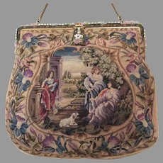 Vintage Petit Point Purse Scenic with Enamelled Frame
