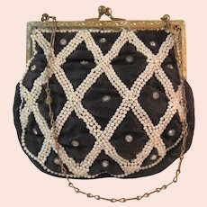 Vintage Purse Rhinestones Faux Pearls Bag   Handbag
