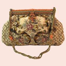 Vintage Embroidered Purse Coral Beads Bag Handbag France
