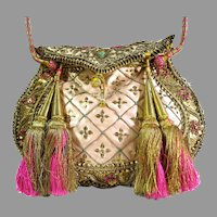 Vintage Embroidered Wire Work Purse Metallic Threads Lions Peacocks