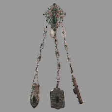Antique Purse Chatelaine Jewel Dance Card / Note Pad Perfume Bottle Pencil