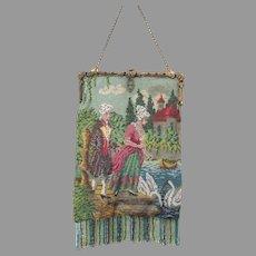 Antique Vintage Scenic Figural Beaded Purse Bag Handbag Jewel Frame