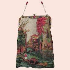 Antique Vintage Venetian Scenic Figural Beaded Purse Bag Handbag Jewel Frame