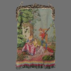 Antique Vintage Miro Beaded Scenic Purse Bag Handbag Figural Courting Scene