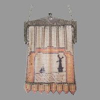 Antique Vintage Whiting Davis Mesh Purse Bag Handbag Scenic Windmill & Sail Boat