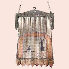 Antique Vintage Whiting Davis Mesh Purse Bag Handbag Scenic Windmill & Sail Boat