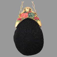 Vintage Antique Celluloid Purse Frame Figural Egg Bag Handbag Flapper ca 1920s