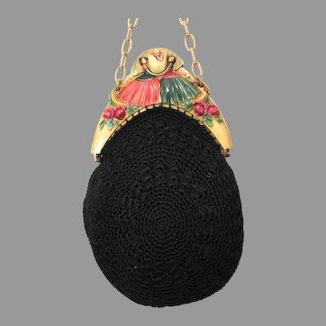 Vintage Celluloid Purse Frame Figural Egg Bag Handbag Flapper ca 1920s