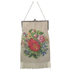 Beaded Purse Vintage Antique Handbag Poinsettia Victorian Christmas Sterling