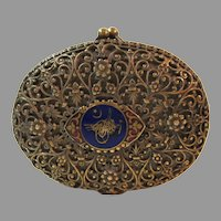 Antique Vintage Ornate Coin Purse Filigree with Guilloche Accent 19th Century