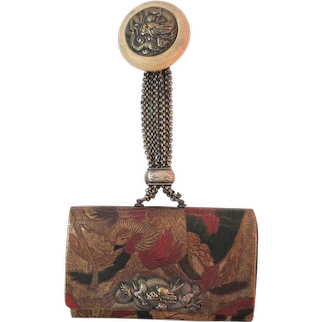 Antique Japanese Tobacco Pouch with Dragon Netsuke