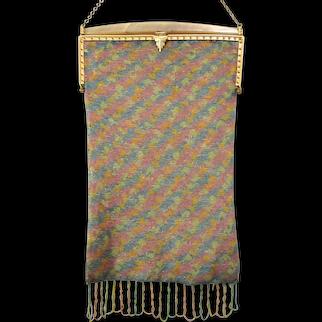 Micro Beaded Purse Pastel Vintage Antique Bag Handbag