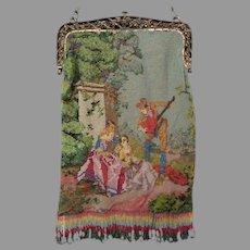 Antique Vintage Miro Beaded Scenic Purse Bag Handbag Figural Courting Scene