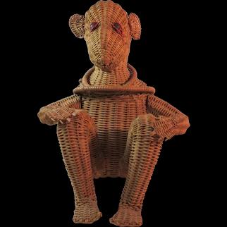 Vintage Wicker Monkey Purse Handbag