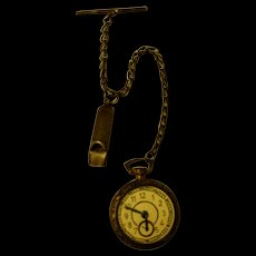 Great Vintage  Gold Watch (and Whistle) On Chain For Your Doll