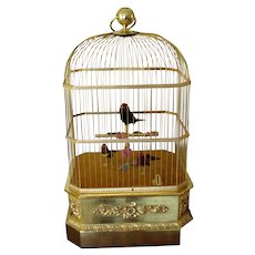 Antique Music Box -  Singing  Birds Cage
