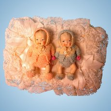 All Bisque Vintage Twin Babies Original Clothing