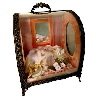 Victorian Presentation Box Mignonette Velvet Glass Silk Wood Metal