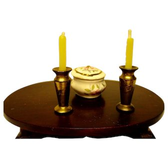Two Tiny Gold Candlesticks With Candles, plus Painted Cup