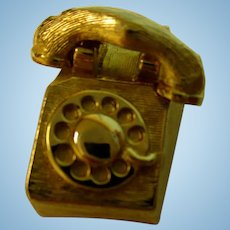 MINIATURE:  Golden Telephone For Small Doll