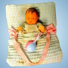 SALE!!  Tiny Baby Doll In Original Display - Blanket