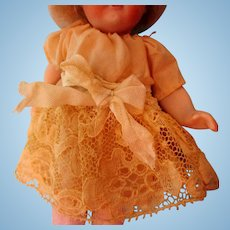 Antique Silk Pink Dress For Mignonette Doll Excellent Condition