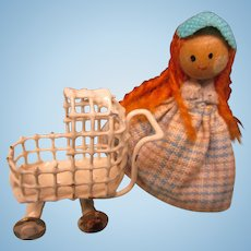 Tiny Vintage Doll With Her Metal Buggy