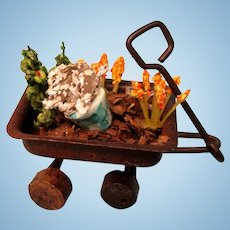 Little Wooden Wagon Filled With Flowers - Vintage