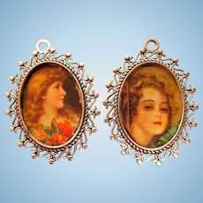 Two Doll House Pictures in Metal Frames