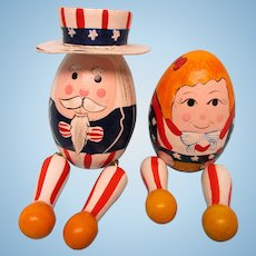 Pair of Wooden Patriotic Eggs For Your Doll Scenes