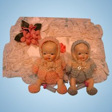 Bisque Small Twin Babies ~ All Original!