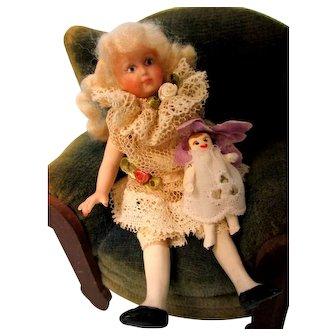 All Bisque Artist Mignonette & her Doll